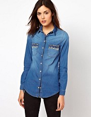 Warehouse Denim Shirt With Studded Pockets
