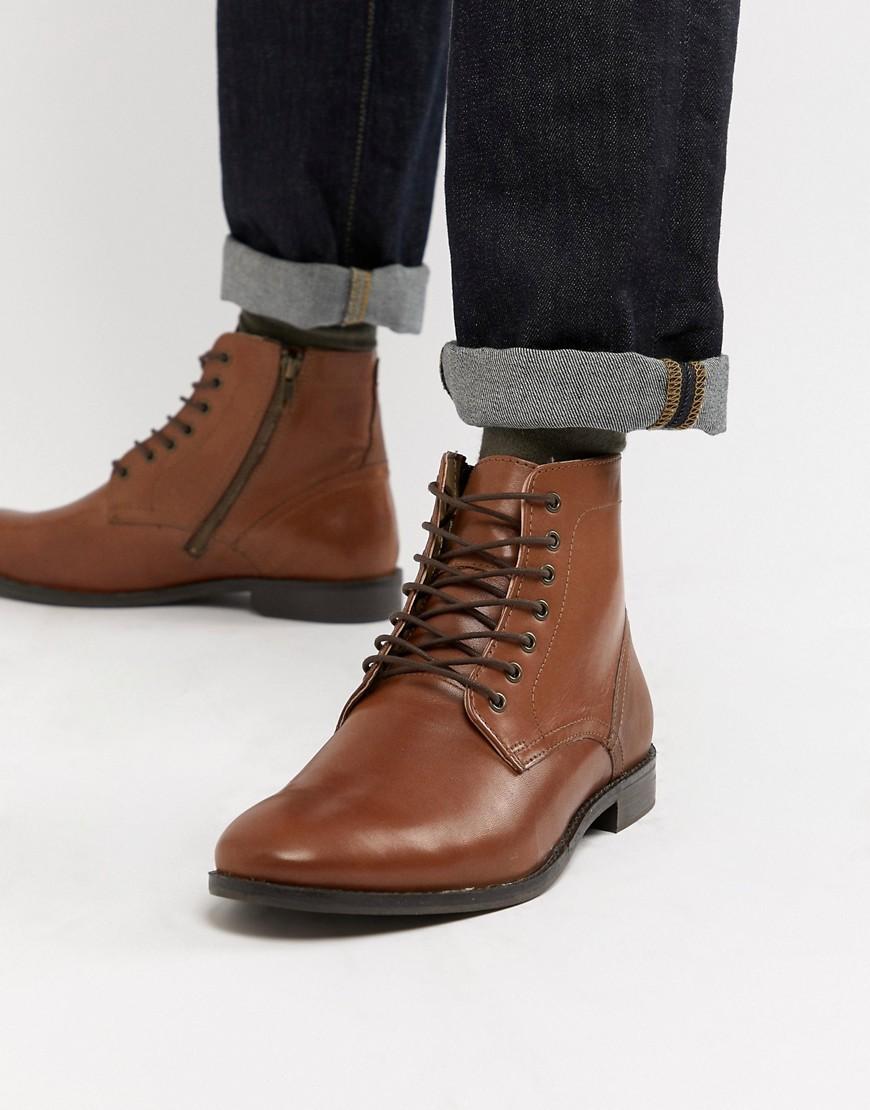 Коричневые кожаные ботинки на шнуровке с натуральной подошвой ASOS DESIGN - Рыжий http://images.asos-media.com/inv/media/5/8/1/0/8720185/tan/image1xxl.jpg