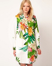 MSGM Oversized Shirt in Tropical Flower Print