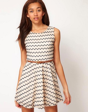 Image 1 ofRiver Island Zig Zag Textured Skater Dress
