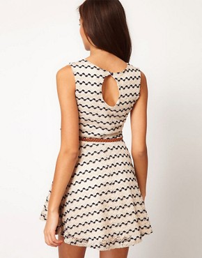 Image 2 ofRiver Island Zig Zag Textured Skater Dress