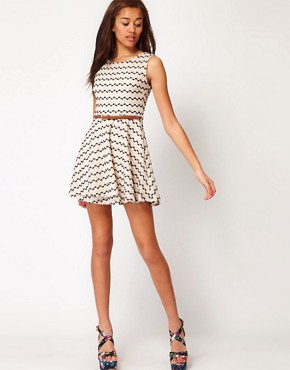 Image 4 ofRiver Island Zig Zag Textured Skater Dress