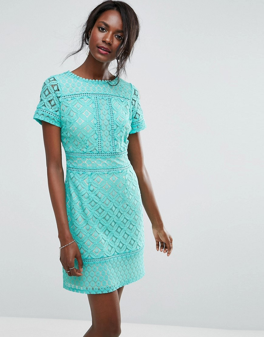 Oasis Cutwork Lace Detail Shift Dress - Blue
