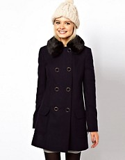 ASOS Fur Collar Coat With Padded Sleeve