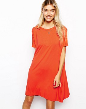 ASOS T-Shirt Dress With Short Sleeves - Red