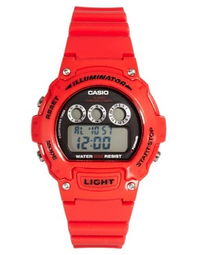 Bild 1 von Casio  W-214HC-4AVEF  Rote Digitalarmbanduhr