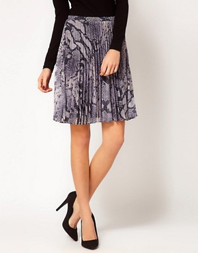 Image 4 ofWarehouse Snake Plisse Skirt