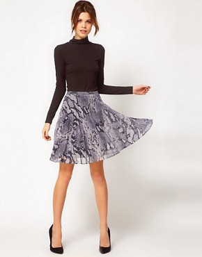 Image 1 ofWarehouse Snake Plisse Skirt