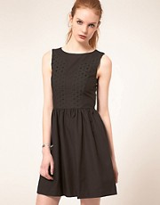 Vanessa Bruno Athe Sleeveless Dress With Broderie Anglaise Panel