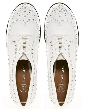 Image 2 ofRiver Island Studded White Brogues