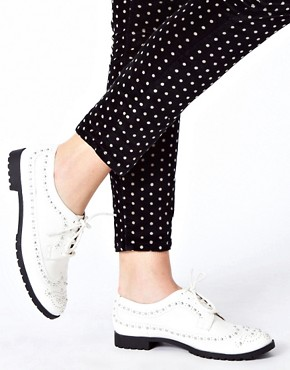Image 3 ofRiver Island Studded White Brogues