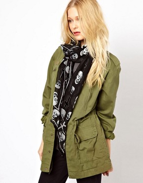 Image 1 ofRiver Island Devore Skull Scarf