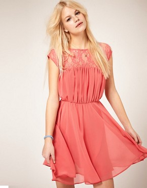Image 1 ofASOS Skater Dress with Lace Insert