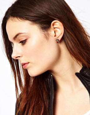 Image 2 ofReligion Skull &amp; Cross Stud Earring Set