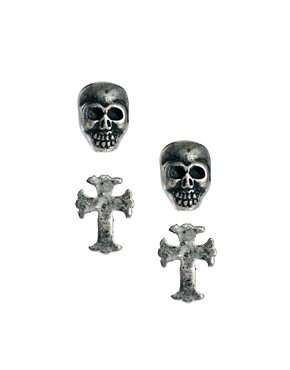 Image 1 ofReligion Skull &amp; Cross Stud Earring Set