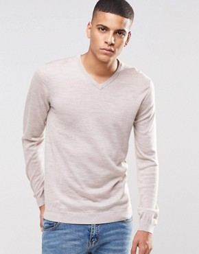 Reiss V-Neck Jumper In Merino Wool
