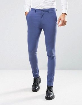 ASOS WEDDING Super Skinny Suit Trousers In Deep Blue