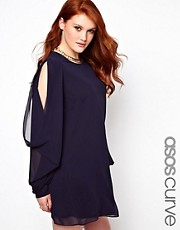 ASOS CURVE Exclusive Shift Dress With Slash Sleeve