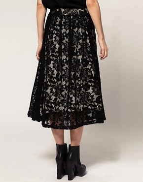 Image 2 ofASOS Midi Skirt in Lace