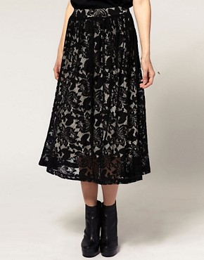 Image 4 ofASOS Midi Skirt in Lace