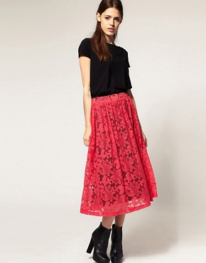 Image 1 ofASOS Midi Skirt in Lace