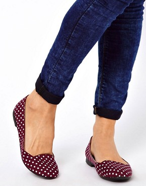 Image 3 of New Look Jot Polka Dot Red Slipper Shoes