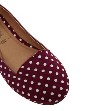 Image 4 of New Look Jot Polka Dot Red Slipper Shoes