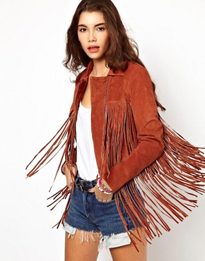 Image 1 of ASOS Fringed Suede Leather Jacket