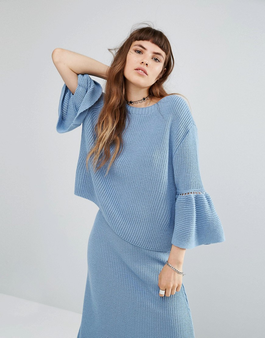 Rokoko Knitted Sweater With Peplum Hem Co-Ord - Blue