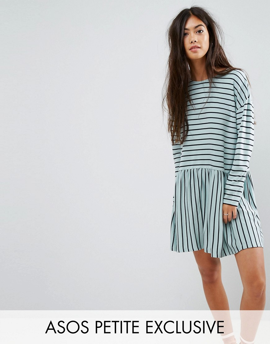 ASOS PETITE Smock Dress in Ponte Stripe - Multi