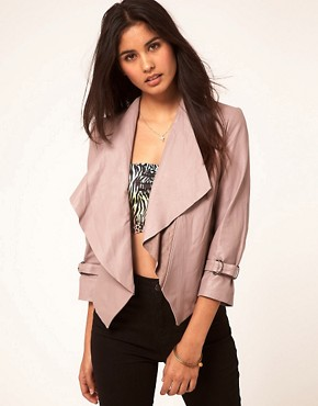 Image 1 ofASOS Leather Jacket With Waterfall Collar