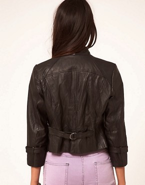 Image 2 ofASOS Leather Jacket With Waterfall Collar