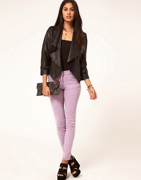 Image 4 ofASOS Leather Jacket With Waterfall Collar