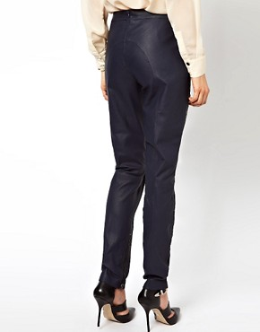 Image 2 ofASOS Skinny Trouser In Leather With Cutwork