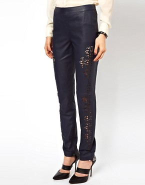 Image 4 ofASOS Skinny Trouser In Leather With Cutwork
