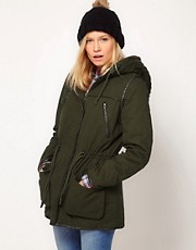 ASOS Knitted Hood Parka With PU Trim