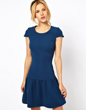 Image 1 ofASOS Mini Dress In Texture With Dropped Waist