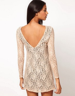 Image 1 ofMotel Low Back Bodycon Lace Sequin Dress