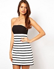 ASOS Mono Stripe Dress With Diamante Embellishment