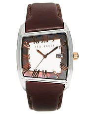 Ted Baker Square Face Leather Strap Watch TE1060