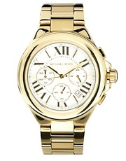 Michael Kors Gold with White Dial Chronograph Watch