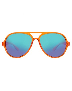 Image 2 of ASOS Plastic Aviator with Colour Mirror Lens