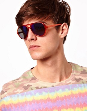 Image 3 of ASOS Plastic Aviator with Colour Mirror Lens