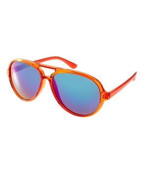 Image 1 of ASOS Plastic Aviator with Colour Mirror Lens