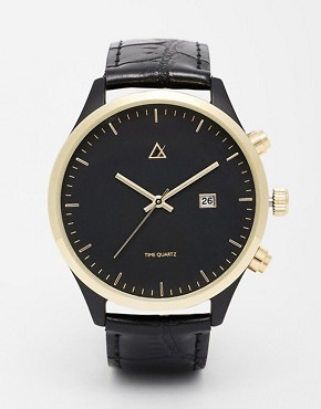 ASOS Watch In Black And Gold