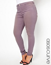 ASOS CURVE Supersoft Skinny Jean In Greyed Lilac