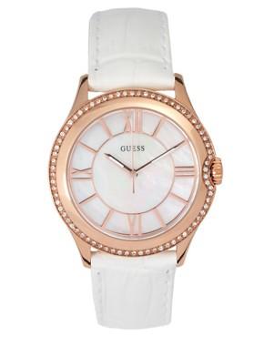 Image 1 ofGuess Moonbeam Mother of Pearl Buckle Watch