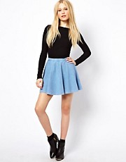 River Island Denim Jersey Skater Skirt