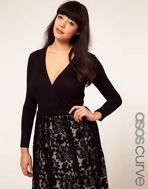Image 1 ofASOS CURVE Exclusive Jersey Body With Wrap Front