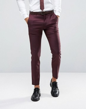 ASOS Skinny Suit Trouser in Dark Berry 100% Wool